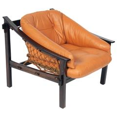 Exotic Jacaranda and Leather Brazilian Lounge Chair by Jean Gillon