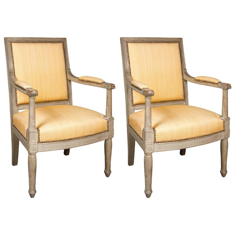 Elegant Pair of Late 18th Century French Directoire Period Armchairs