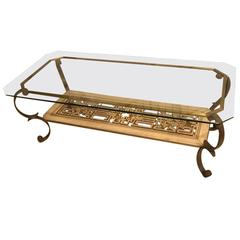 Mid-Century Brass and Giltwood Coffee Table