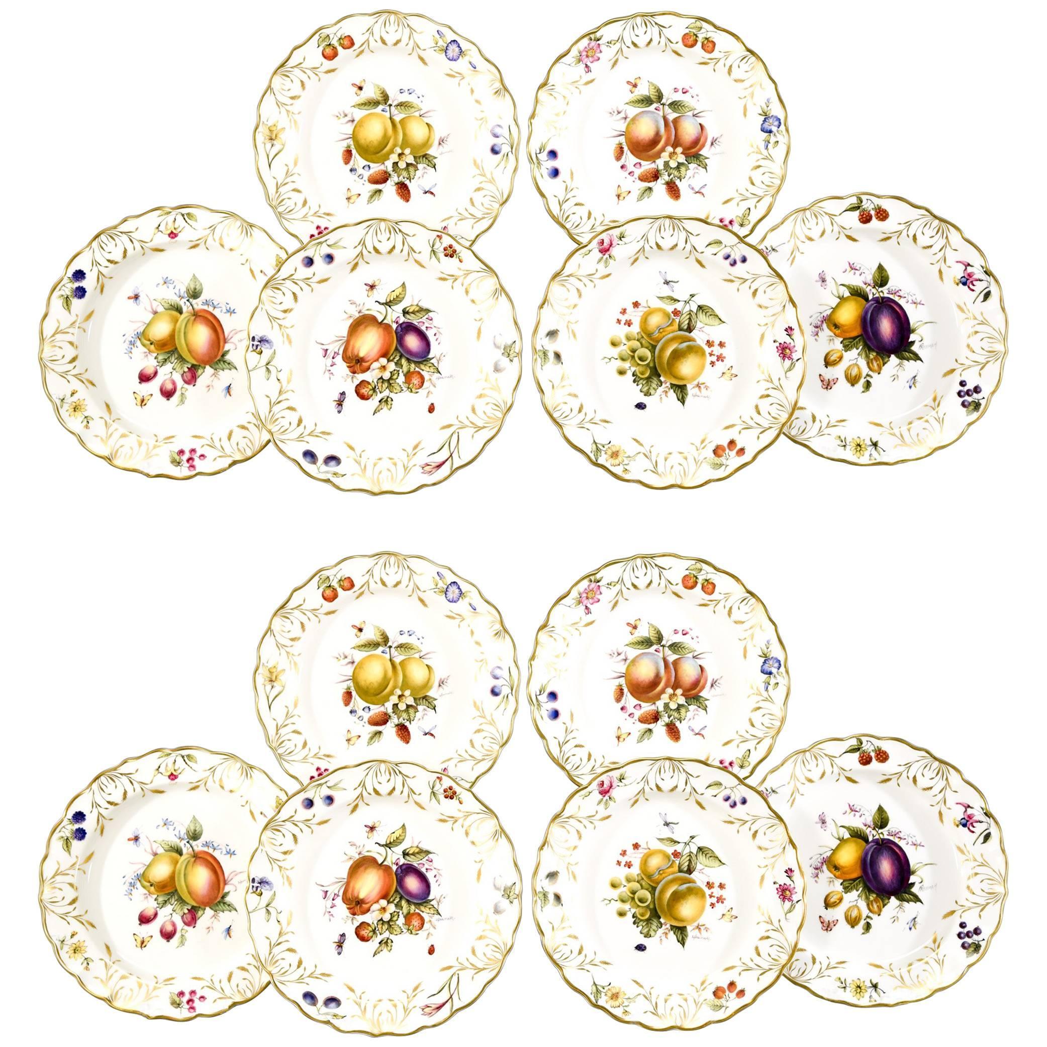 12 Royal Worcester Hand-Painted Dessert Plates with Fruit Artist Signed Hummel