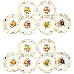 12 Royal Worcester Hand-Painted Dessert Plates with Fruit Artist Signed Hummel