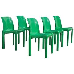 1969, Vico Magistretti for Artemide, Set of Four or Five Green Selene Chairs