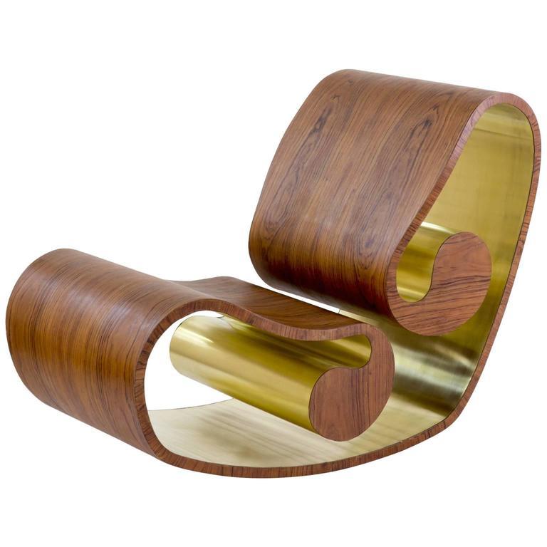 Voluta Wood and Brass Handmade Rocking Chair For Sale  sc 1 st  1stDibs & Voluta Wood and Brass Handmade Rocking Chair For Sale at 1stdibs