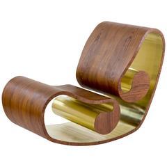 Voluta Wood and Brass Handmade Rocking Chair
