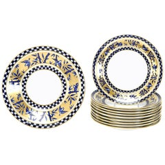11 Coalport Cobalt Blue & Gold Aesthetic Movement Dessert Plates & Serving Dish