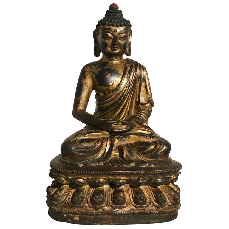 Chinese Gilt Bronze Amitabha Buddha, 20th Century