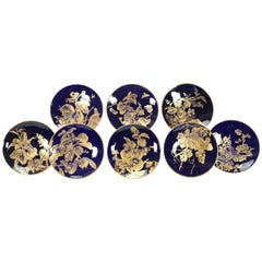 12 Brownfield Aesthetic Movement Cobalt Blue Gold Fruit Dessert Plates