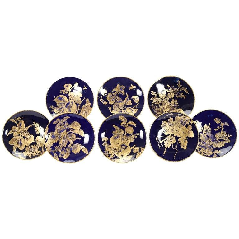 12 Brownfield Aesthetic Movement Cobalt Blue Gold Fruit Dessert Plates For Sale