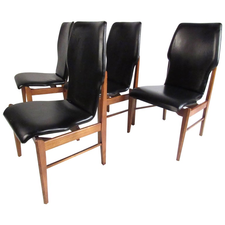 Mid-Century Set of High Back Dining Chairs For Sale