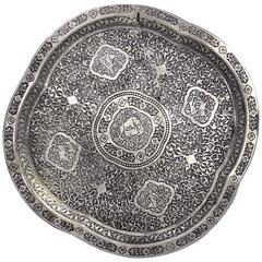 Silvered Bronze Islamic Safavid Motif Tray, 19th Century