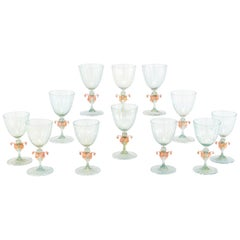 12 Venetian Murano Handblown Aqua Green & Gold Goblets with Pink Figural Swans