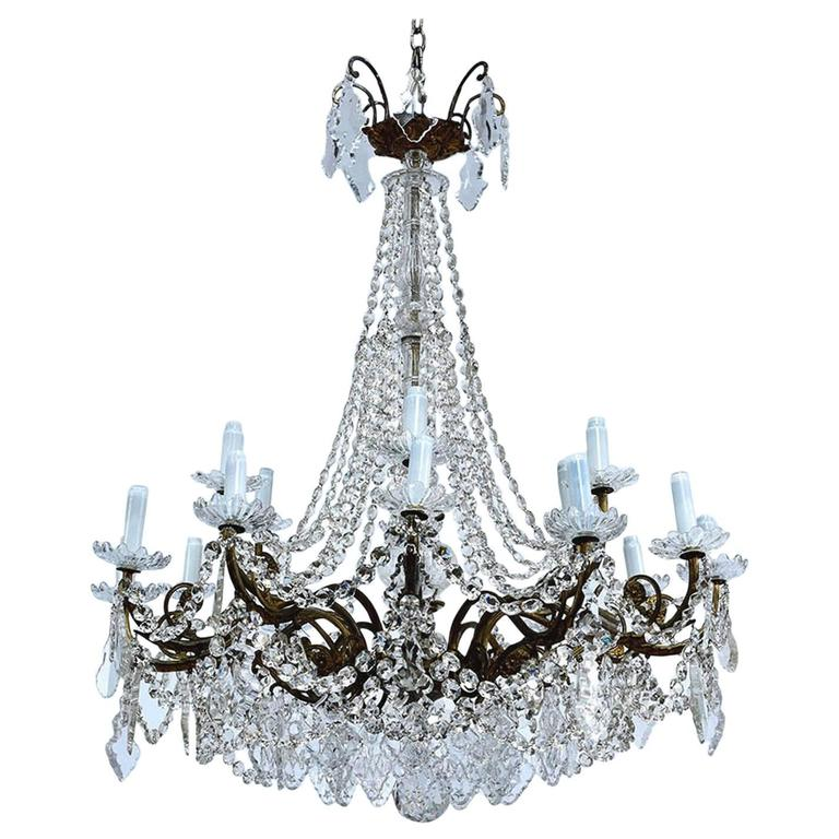 19th Century French Crystal Chandelier