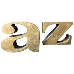 """Pair of """"A to Z"""" Bookends by Curtis Jere Signed & Dated 1968 in Gold Leaf Finish"""