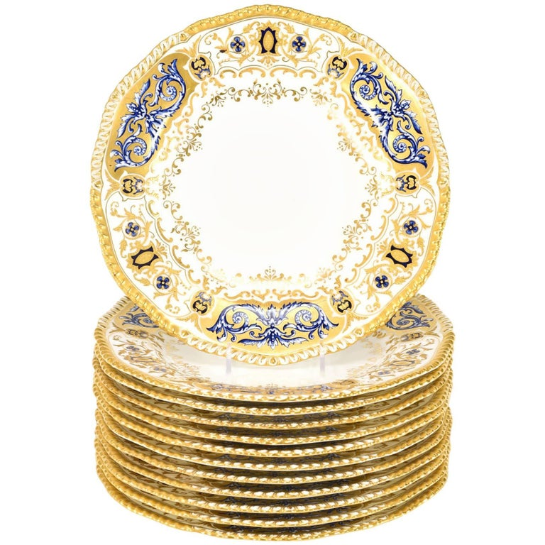 12 Coalport for Tiffany 1899 Gold, Ivory and Cobalt Blue Dinner Plates For Sale