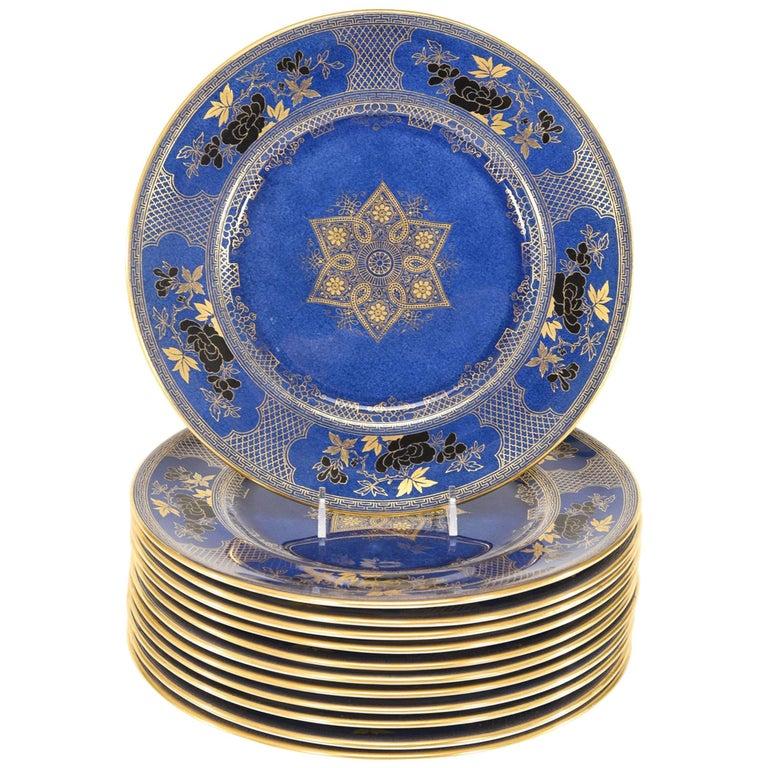 12 Royal Doulton Powder Blue Japonesque Dinner Plates with Black & Gold Enamel