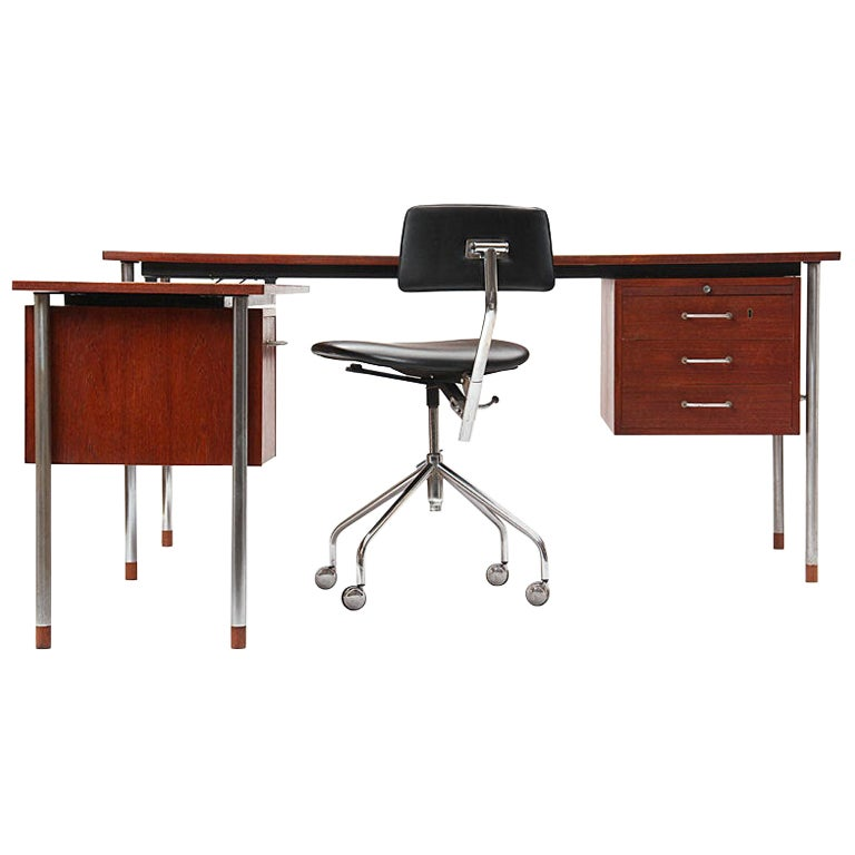 Teak and Steel Desk by Larsen and Madsen