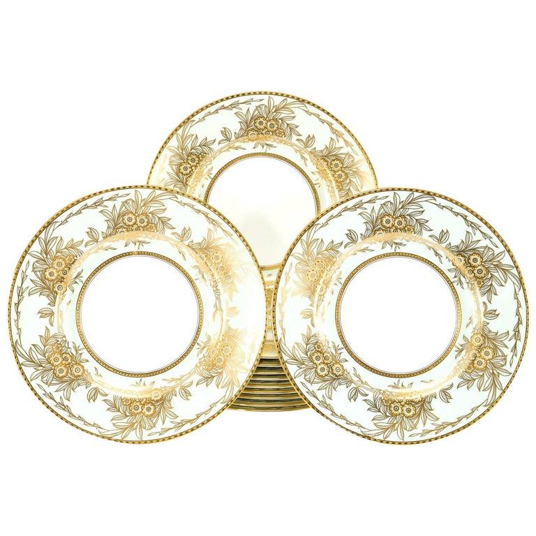 Set of 13 Minton Dinner Plates Soft Blue Green Raised Paste Gold Leaf Pattern For Sale