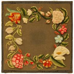 Pennsylvania Dutch Stumpwork Floral Panel, 19th Century