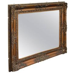 Antique Wall Mirror, Victorian, Gilt Gesso Frame, Later Plate