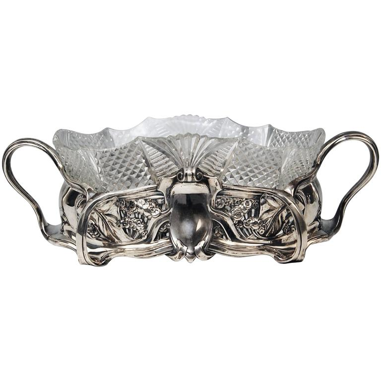 Flower Bowl Silver 800 Art Nouveau Jardinière Lange and Gunther Germany 1900