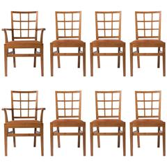 Set of Eight Walnut Dining Chairs by Edward Barnsley