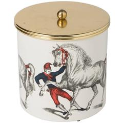 "Piero Fornasetti Metal and Brass Ice Bucket ""Cavalli Ramanti"", Italy circa 1960"