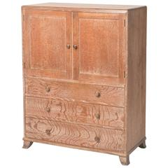 Heals of London limed oak tallboy, England circa 1920