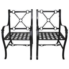 Pair of French Mid-Century Ebonized Wrought Iron and Metal Painted Armchairs