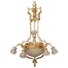Lovely Early 20th Century Gilt Bronze Eight-Light Chandelier