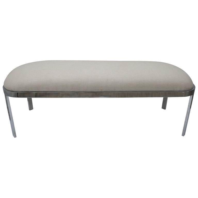 D.I.A. Race-Track Form Bench in Polished Chrome and Cream Upholstery Fabric For Sale