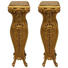 Pair of Mid-Century Giltwood Pedestals with Marble Tops