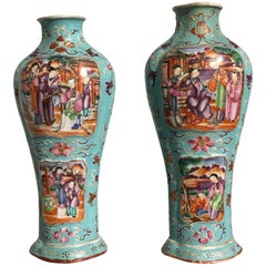 Pair of 18th Century Chinese Export Mandarin Turquoise Vases