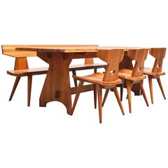 Pine Dining Set By Jacob Kielland-Brandt for I. Christiansen