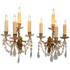 Pair of Early 19th Century French Regence Crystal and Bronze Dore Sconces