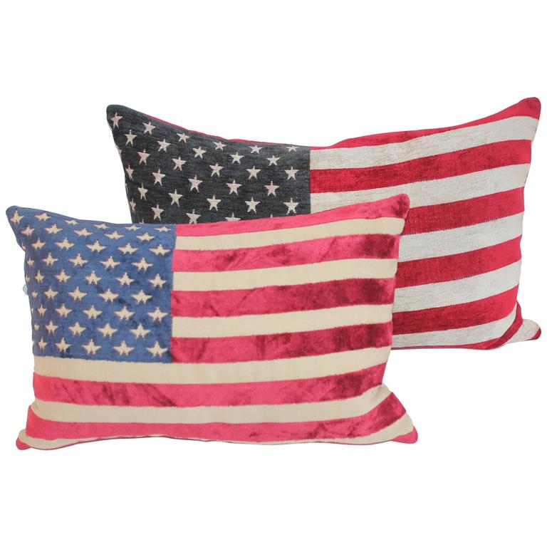 Pair of Vintage 50 Star Flag Pillows For Sale
