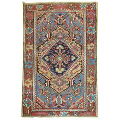 Persian Heriz Scatter Rug with French Blue Accents