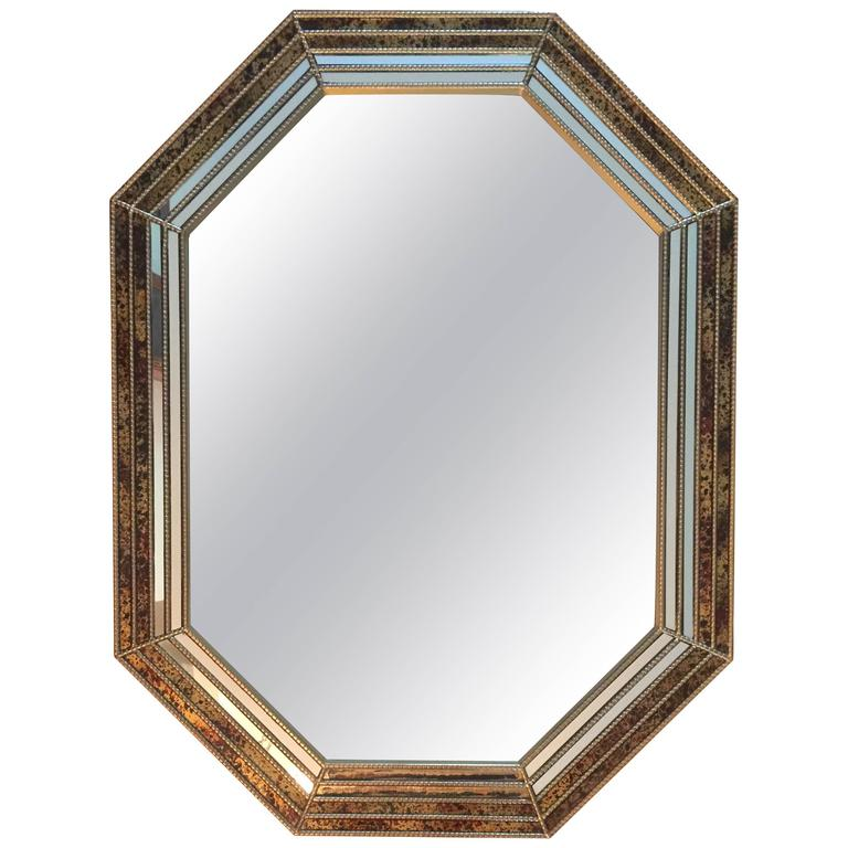 1970s Octagonal Oil Drop Brass Mirror by Chapman For Sale