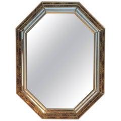 1970s Labarge Octagonal Oil Drop Brass Mirror