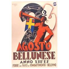 Italian Futurist Period Event Poster by Michelangelo Cignetti, circa 1935
