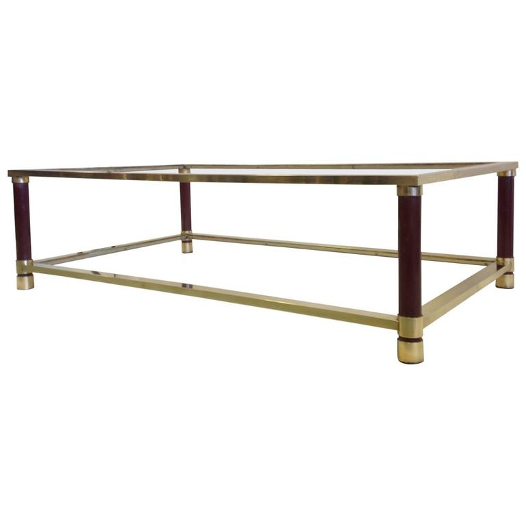 Large French Solid Brass Double Level Coffee Table Attributed to Maison Jansen
