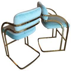 Set of 4 Brass Cantilever Counter Stools Blue Velvet Upholstered Milo Baughman