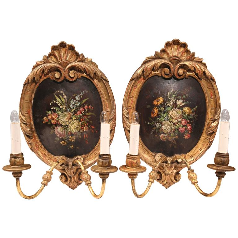 Pair of 19th Century French Hand-Painted and Gilt Oval Wall Sconces with Flowers