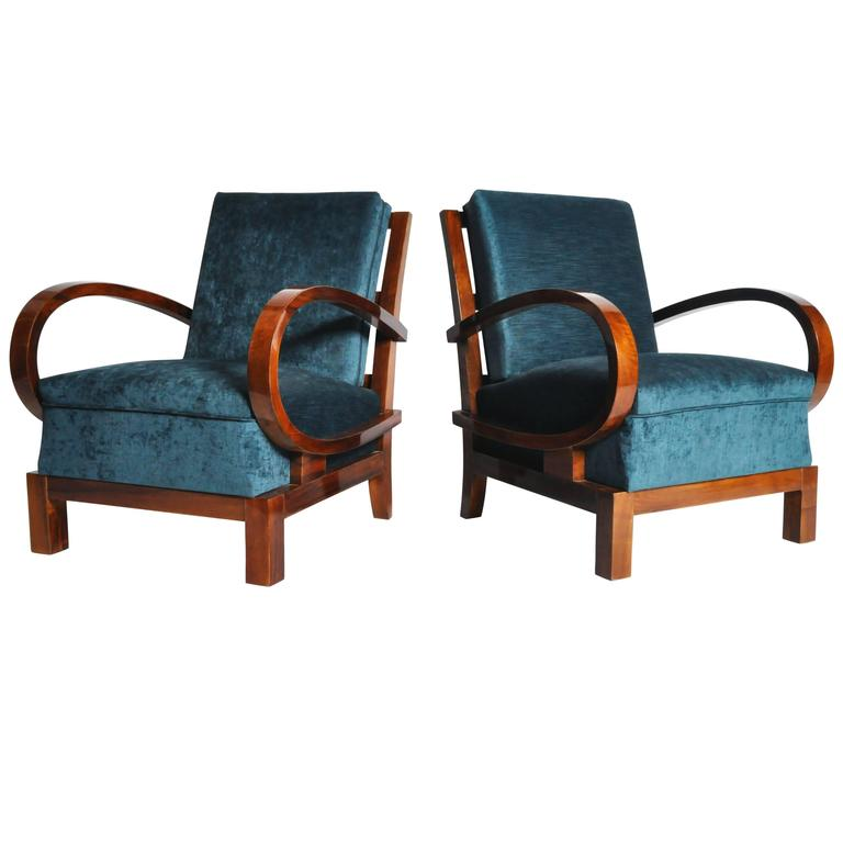 Pair of Solid Walnut Hungarian Armchairs