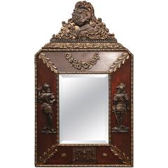 19th Century, French Napoleon III Wood and Tole Wall Mirror with Repoussé Decor