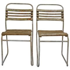 pair of tubular steel and hardwood bistro chairs - Bistro Chairs