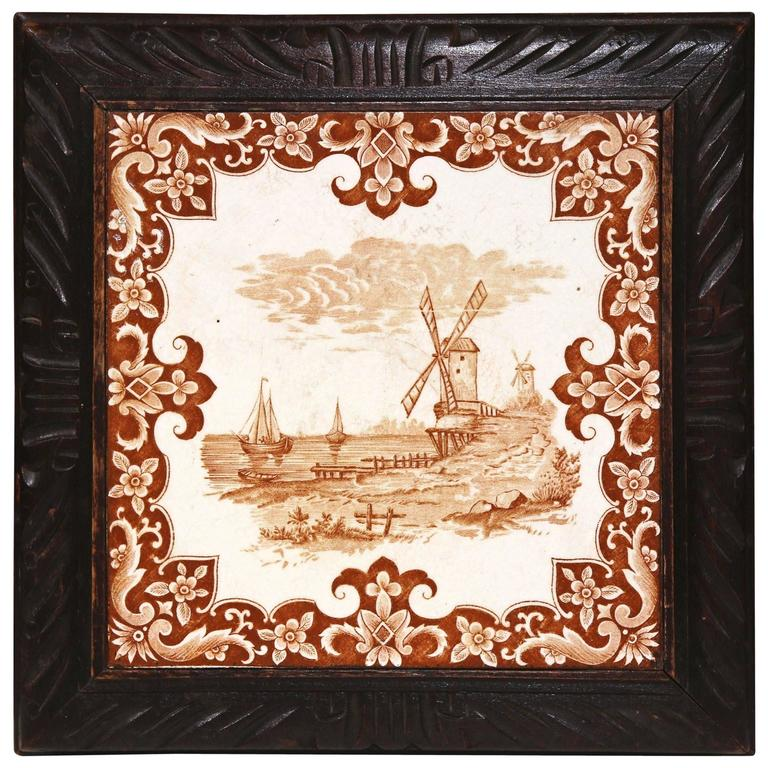 19th Century French Carved Musical Hot Dish Tray with Hand-Painted Tile For Sale