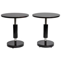 Art Deco Style Round Table with Metal Post