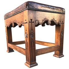 Unique and Quality Carved Gothic Revival Oak Stool with Original Leather Seating