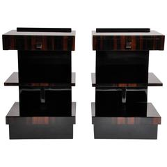 Art Deco Style Square Side Tables with Drawers and Shelf