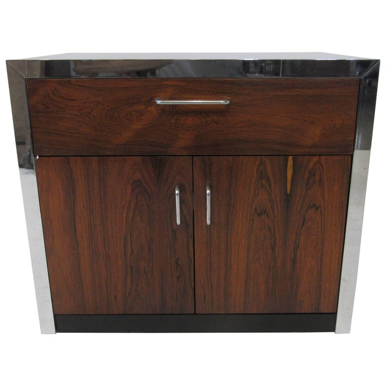 Rosewood and Chrome Nightstand in the Manner of Milo Baughman For Sale